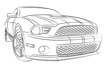 car drawing: Muscle car digital drawing
