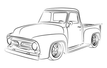 hand truck: Old pickup digital drawing Illustration