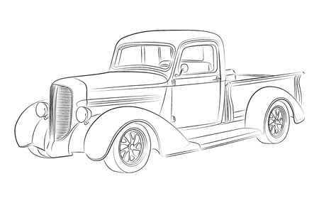 old hand: Hotrod pickup drawing Illustration