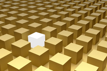 many rendered 3d cubes arranged in geometric