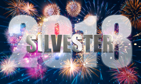 colorful new years eve motif with fireworks Imagens
