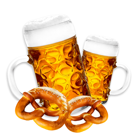 Bavarian beer with foam crown in the pitcher