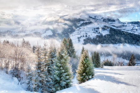 Winter in the austrian alps Stock Photo