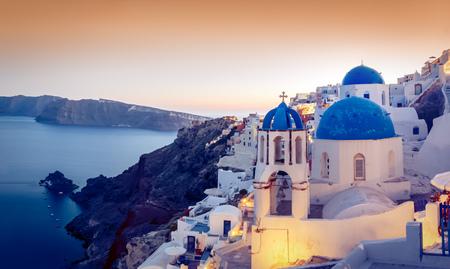 地中海のギリシャの島サントリーニからの印象 写真素材