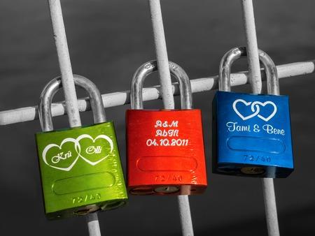 Colorful padlocks in Regensburg 写真素材