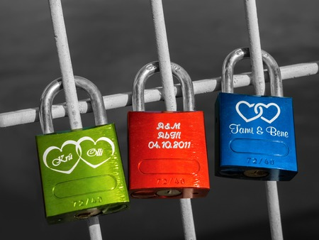 Colorful padlocks in Regensburg Reklamní fotografie