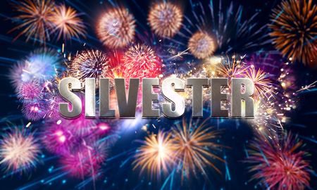 colorful new years eve motif with fireworks Banco de Imagens
