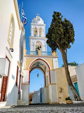 지중해의 그리스 섬 산토리니에서의 인상 스톡 콘텐츠