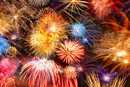 colorful new years eve motif with fireworks Stock Photo