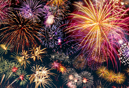 Colorful new years eve motif with fireworks