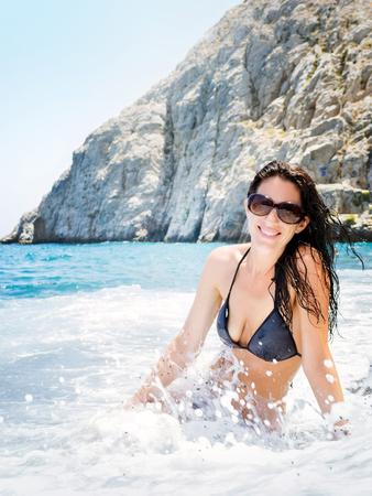 the greek island santorini in the mediterranean sea