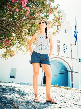 religious clothing: the greek island santorini in the mediterranean sea