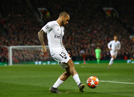 MANCHESTER, ENGLAND - FEBRUARY 12 2019: Dani Alves of PSG during the Champions League match between Manchester United and Paris Saint-Germain at Old Trafford Stadium.