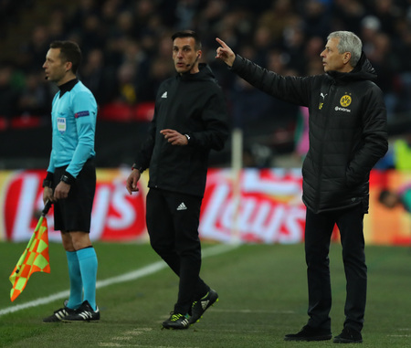 LONDON, ENGLAND - FEBRUARY 13 2019: Lucien Favre Manager of Dortmund during the Champions League match between Tottenham Hotspur and Borussia Dortmund at Wembley Stadium, London. Editorial