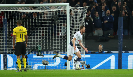 LONDON, ENGLAND - FEBRUARY 13 2019: Jan Vertonghen of Tottenham celebrates a goal during the Champions League match between Tottenham Hotspur and Borussia Dortmund at Wembley Stadium, London. Editorial