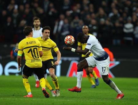 LONDON, ENGLAND - FEBRUARY 13 2019: Moussa Sissoko of Tottenham during the Champions League match between Tottenham Hotspur and Borussia Dortmund at Wembley Stadium, London.