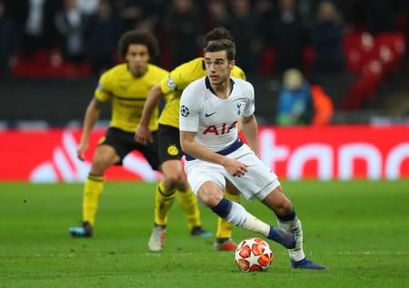 LONDON, ENGLAND - FEBRUARY 13 2019: Harry Winks of Tottenham during the Champions League match between Tottenham Hotspur and Borussia Dortmund at Wembley Stadium, London.