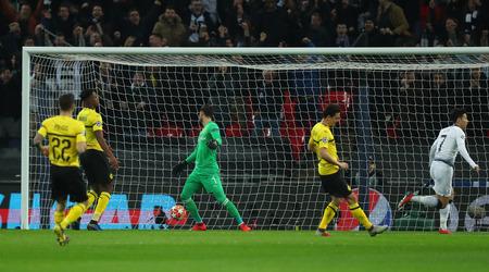 LONDON, ENGLAND - FEBRUARY 13 2019: Son Heung-Min of Tottenham celebrates scoring a goal during the Champions League match between Tottenham Hotspur and Borussia Dortmund at Wembley Stadium, London. Editorial