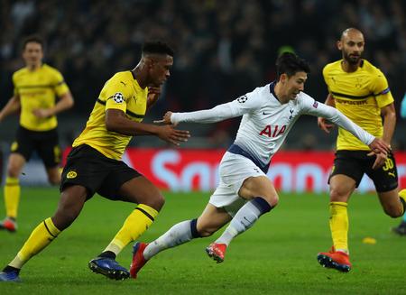 LONDON, ENGLAND - FEBRUARY 13 2019: Son Heung-Min of Tottenham during the Champions League match between Tottenham Hotspur and Borussia Dortmund at Wembley Stadium, London.