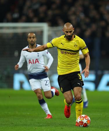 LONDON, ENGLAND - FEBRUARY 13 2019: Omer Toprak of Dortmund during the Champions League match between Tottenham Hotspur and Borussia Dortmund at Wembley Stadium, London. Editöryel