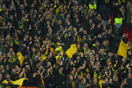 LONDON, ENGLAND - FEBRUARY 13 2019: A general view during the Champions League match between Tottenham Hotspur and Borussia Dortmund at Wembley Stadium, London.