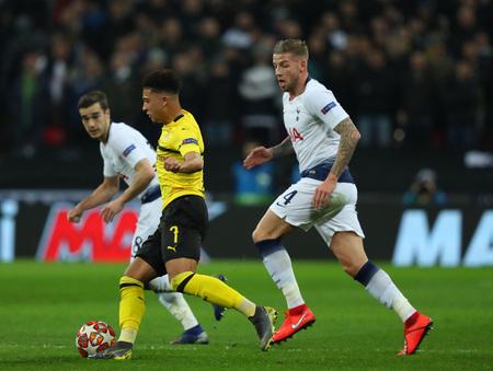 LONDON, ENGLAND - FEBRUARY 13 2019: Jadon Sancho of Dortmund during the Champions League match between Tottenham Hotspur and Borussia Dortmund at Wembley Stadium, London. Editorial