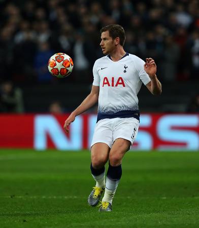 LONDON, ENGLAND - FEBRUARY 13 2019: Jan Vertonghen of Tottenham during the Champions League match between Tottenham Hotspur and Borussia Dortmund at Wembley Stadium, London. Editorial