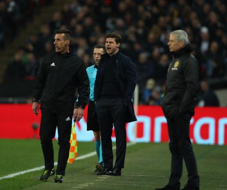 LONDON, ENGLAND - FEBRUARY 13 2019: Mauricio Pochettino manager of Tottenham during the Champions League match between Tottenham Hotspur and Borussia Dortmund at Wembley Stadium, London. Publikacyjne