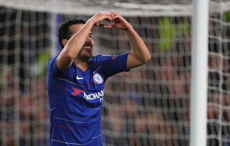 LONDON, ENGLAND - MARCH 7 2019: Pedro of Chelsea celebrates scoring a goal during the Europa League match between Chelsea and Dynamo Kyiv at Stamford Bridge. Редакционное