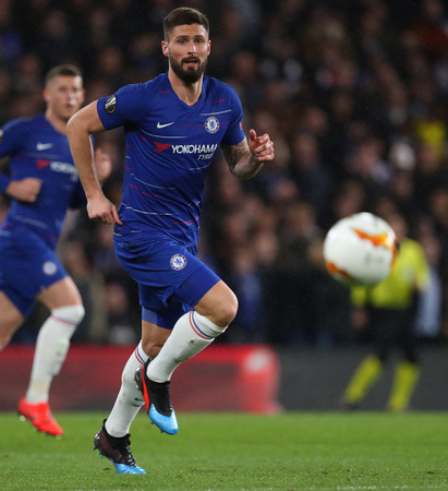 LONDON, ENGLAND - MARCH 7 2019: Olivier Giroud of Chelsea during the Europa League match between Chelsea and Dynamo Kyiv at Stamford Bridge. Редакционное