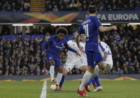 LONDON, ENGLAND - MARCH 7 2019: Willian of Chelsea during the Europa League match between Chelsea and Dynamo Kyiv at Stamford Bridge.