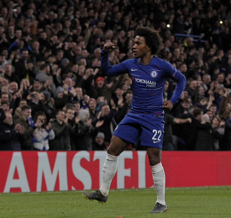 LONDON, ENGLAND - MARCH 7 2019: Willian of Chelsea celebrates scoring a goal during the Europa League match between Chelsea and Dynamo Kyiv at Stamford Bridge. Редакционное