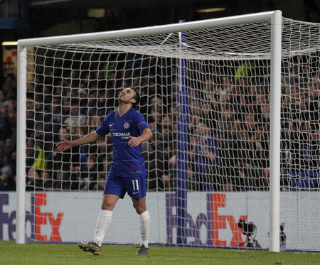 LONDON, ENGLAND - MARCH 7 2019: Pedro of Chelsea reacts after his shot is saved during the Europa League match between Chelsea and Dynamo Kyiv at Stamford Bridge.