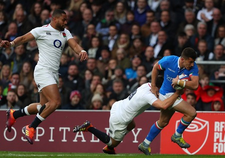 LONDON, ENGLAND - MARCH 09 2019: Tommaso Allan of Italy runs through to score a try during the Guinness Six Nations match between England and Italy at Twickenham Stadium