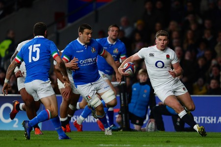 LONDON, ENGLAND - MARCH 09 2019: Owen Farrell of England runs with the ball during the Guinness Six Nations match between England and Italy at Twickenham Stadium