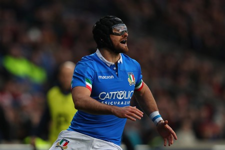LONDON, ENGLAND - MARCH 09 2019: Ian McKinley of Italy wearing safety goggles during the Guinness Six Nations match between England and Italy at Twickenham Stadium