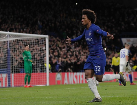 LONDON, ENGLAND - MARCH 7 2019: Willian of Chelsea celebrates scoring a goal during the Europa League Round of 16, first leg match between Chelsea and Dynamo Kyiv at Stamford Bridge on March 7 2019 in London, United Kingdom.