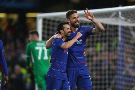 LONDON, ENGLAND - MARCH 7 2019: Pedro of Chelsea celebrates scoring a goal during the Europa League Round of 16, first leg match between Chelsea and Dynamo Kyiv at Stamford Bridge on March 7 2019 in London, United Kingdom. Редакционное