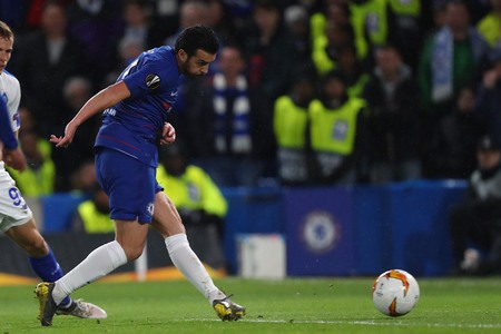 LONDON, ENGLAND - MARCH 7 2019: Pedro of Chelsea scores a goalduring the Europa League Round of 16, first leg match between Chelsea and Dynamo Kyiv at Stamford Bridge on March 7 2019 in London, United Kingdom.