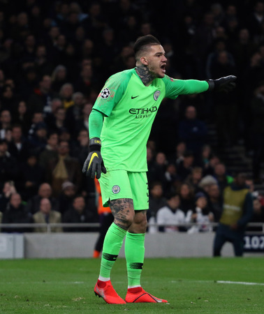 LONDON, ENGLAND: 09 MAR 2019. Ederson of Man City during the UEFA Champions League Quarter Final, First Leg match