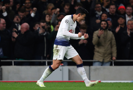 LONDON, ENGLAND: 09 MAR 2019. Son Heung-Min of Tottenham celebrates scoring a goal during the UEFA Champions League Quarter Final, First Leg match