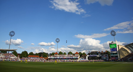 NOTTINGHAM, ENGLAND. 06 JUNE 2019: A general view of the ground during the Australia against West Indies, ICC Cricket World Cup match, at Trent Bridge, Nottingham, England. Editorial