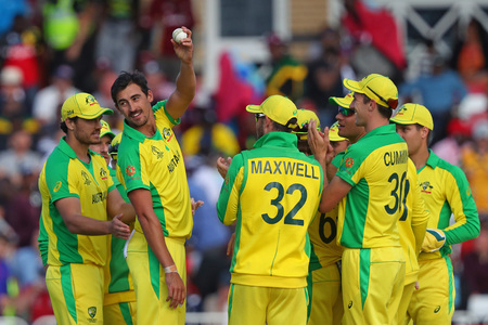 NOTTINGHAM, ENGLAND. 06 JUNE 2019: Mitchell Starc of Australia shows the ball too the crowd after taking five wickets during the Australia against West Indies, ICC Cricket World Cup match, at Trent Bridge, Nottingham, England.