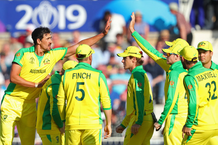 NOTTINGHAM, ENGLAND. 06 JUNE 2019: Mitchell Starc of Australia celebrates taking the wicket of Jason Holder of West Indies  during the Australia against West Indies, ICC Cricket World Cup match, at Trent Bridge, Nottingham, England.