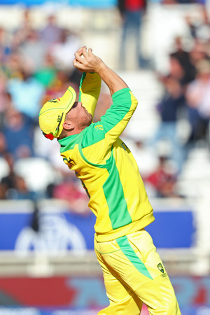 NOTTINGHAM, ENGLAND. 06 JUNE 2019: Aaron Finch of Australia takes a catch to dismiss Carlos Brathwaite of West Indies during the Australia against West Indies, ICC Cricket World Cup match, at Trent Bridge, Nottingham, England.