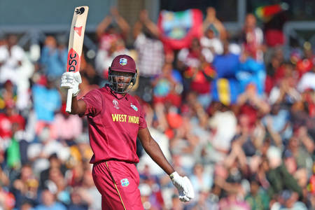 NOTTINGHAM, ENGLAND. 06 JUNE 2019: Jason Holder of West Indies celebrates scoring a half century during the Australia against West Indies, ICC Cricket World Cup match, at Trent Bridge, Nottingham, England.