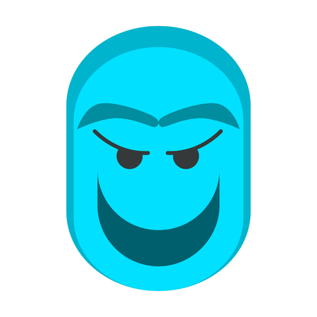Blue Ghost Character with Flat Vectors
