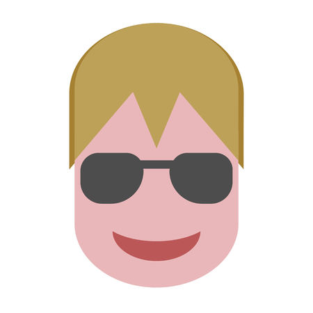Blond Boy with Sun Glasses Flat Vector