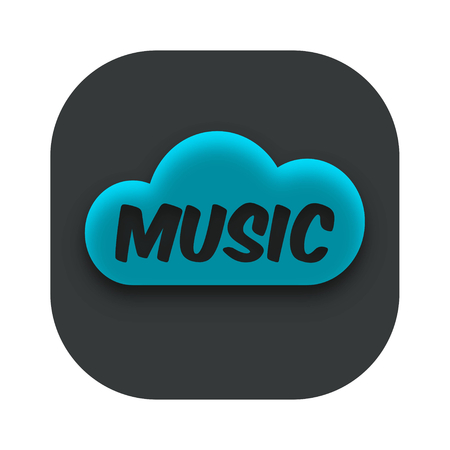 Music Cloud App Icon Vector Illustration