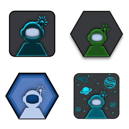Vector Collection of Astronauts and Space Men Logo Concept Ideas